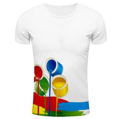Round Neck 3D Colorful Paint Bucket Print Short Sleeve Stylish T-Shirt For Men