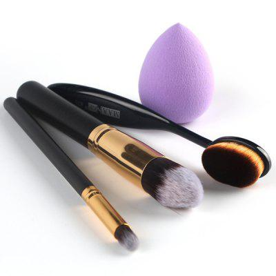 Stylish 4 Pcs/Set Blush Brush + Foundation Brush + Eyeshadow Brush + Sponge Blender