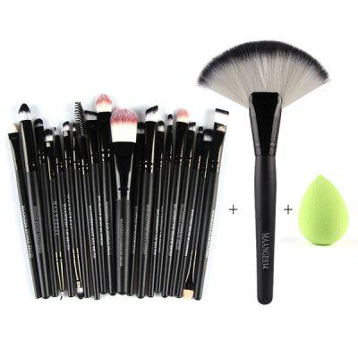 Stylish 21 Pcs Multifunction Nylon Face Eye Lip Makeup Brush Set and Sponge Blender