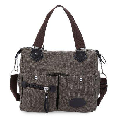 Gearbest Large Capacity Women Casual Style Canvas Tote Belt Decoration Shoulder Bag - COFFEE
