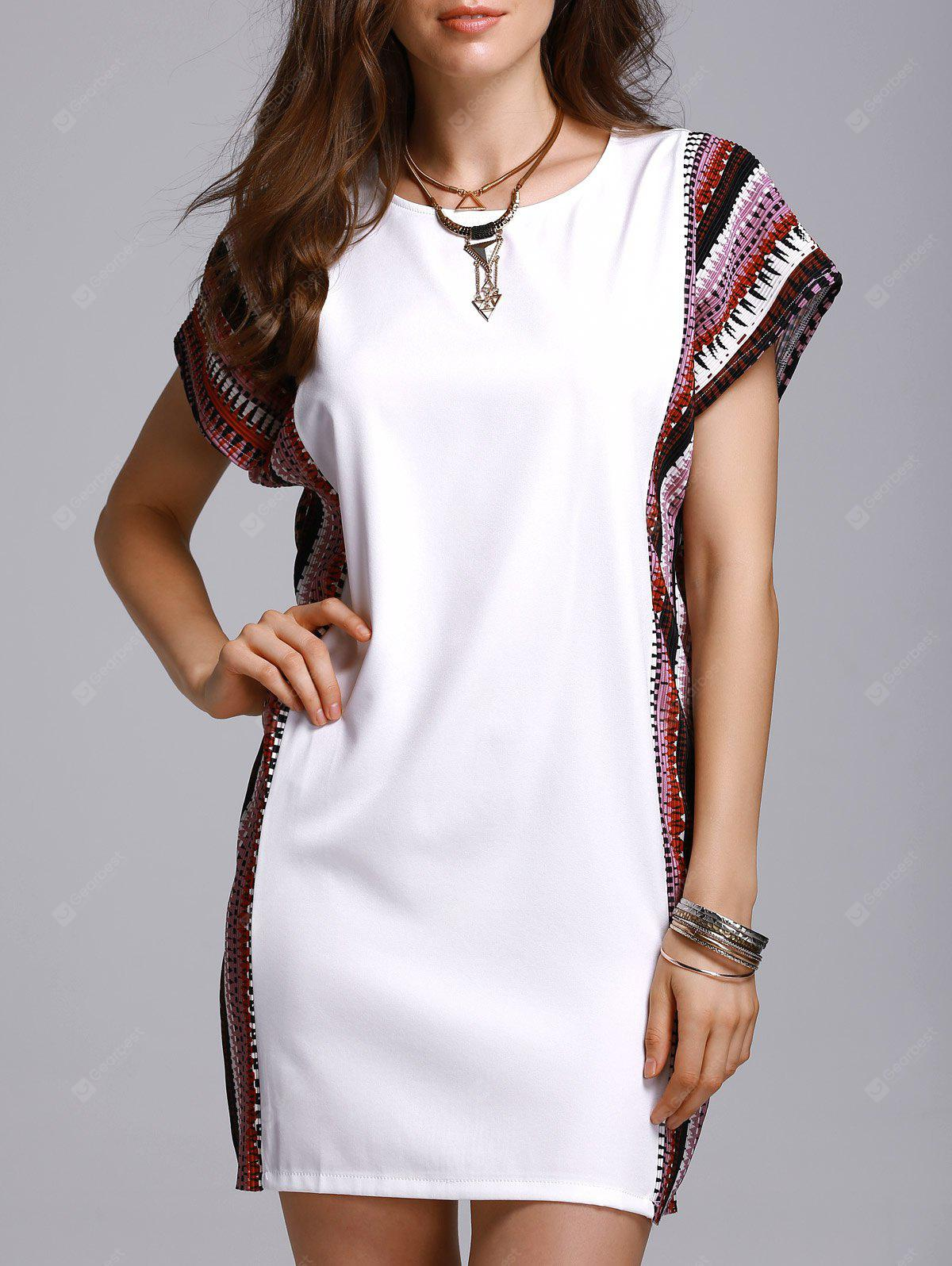 Stylish Round Neck Bat-Wing Sleeve Printed Loose Women's Dress