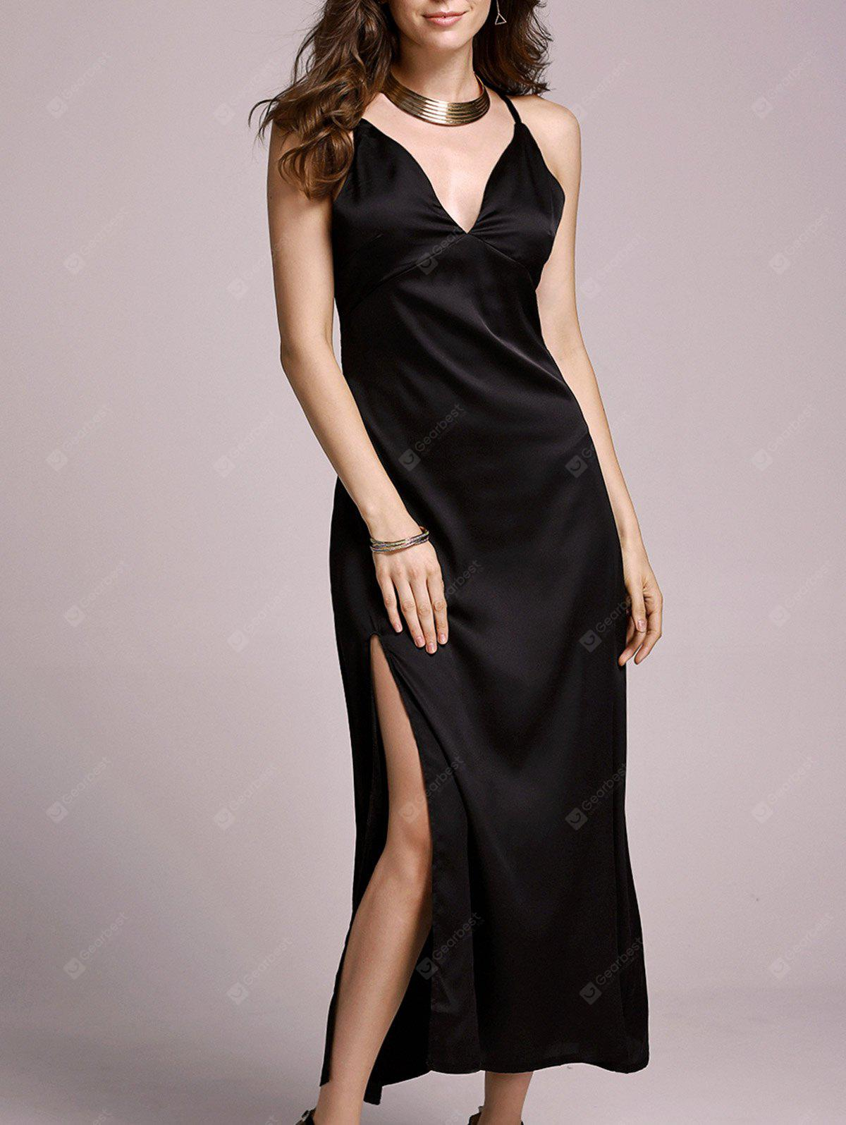 Fashion Spaghetti Straps High Slit Solid Color Dress For Women
