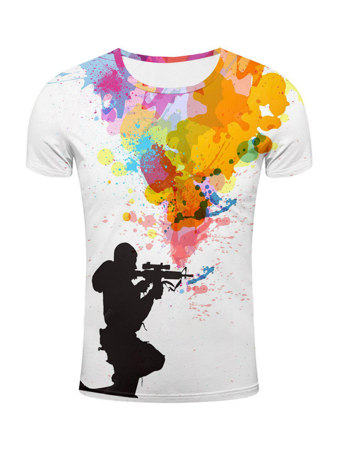 864a88c1 3D Sniper and Colorful Splatter Paint Print T-Shirt | Gearbest