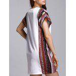 Stylish Round Neck Bat-Wing Sleeve Printed Loose Women's Dress - WHITE