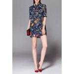 Short Floral Beaded Dress - PURPLISH BLUE
