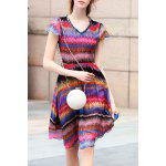 V Neck Colorful Stripe Swing Dress