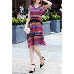 V Neck Colorful Stripe Swing Dress for sale