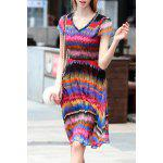 V Neck Colorful Stripe Swing Dress deal