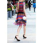 cheap V Neck Colorful Stripe Swing Dress
