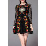 Floral Embroidered Openwork Mini Dress - BLACK