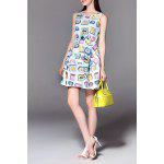 Sleeveless Clock Print Mini Dress for sale