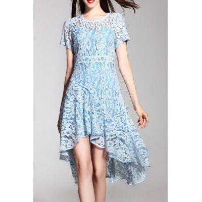 Lace High Low Short Sleeve Dress