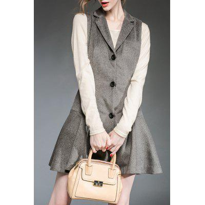 Gray Lapel Single Breasted Winter Dress