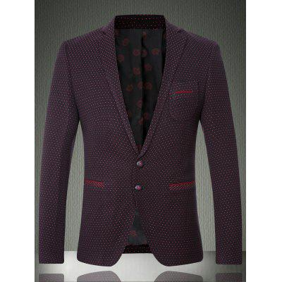 Polka Dot Lapel Long Sleeve Single Breasted Blazer For Men