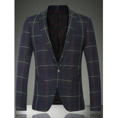 Tartan Lapel Long Sleeve One Button Design Blazer For Men