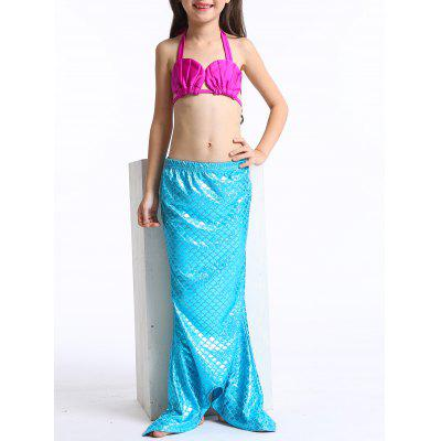Cute Lace Up Halter Bra + Briefs + Mermaid Skirt Girl's Swimsuit