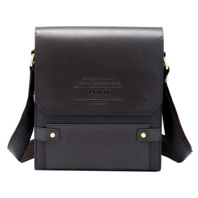 Trendy Letter Embossed and PU Leather Design Messenger Bag For Men