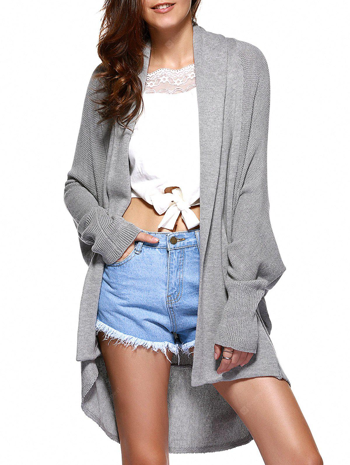 Casual Collarless Batwing Sleeve High Low Cardigan For Women