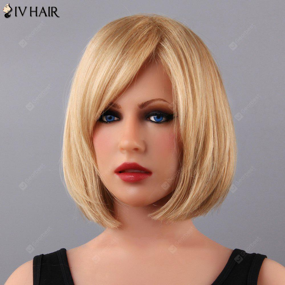 Ladylike Women's Short Straight Side Bang Siv Human Hair Wig