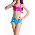 Cute Lace Up Halter Bra + Briefs + Mermaid Skirt Girl's Swimsuit - BLEU