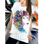 Casual Short Sleeve Floral Fox Pattern Women's T-Shirt - WHITE