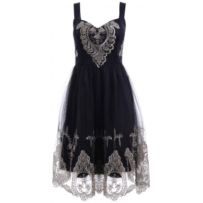 Elegant Straps Golden Lace Floral Embellished Dress For Women