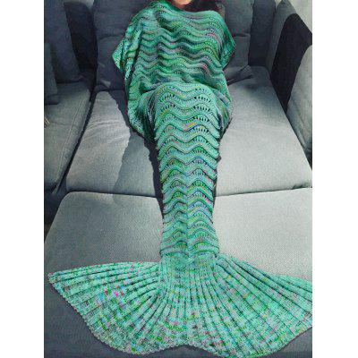 Buy Comfortable Multicolor Knitted Throw Mermaid Tail Design Blanket For Adult GREEN for $14.99 in GearBest store