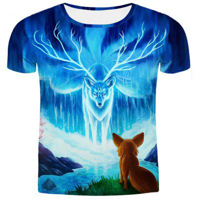 Buy COLORMIX Hot Sale Round Neck 3D Animal Printing Slimming Short Sleeves T-Shirt For Men for $12.95 in GearBest store