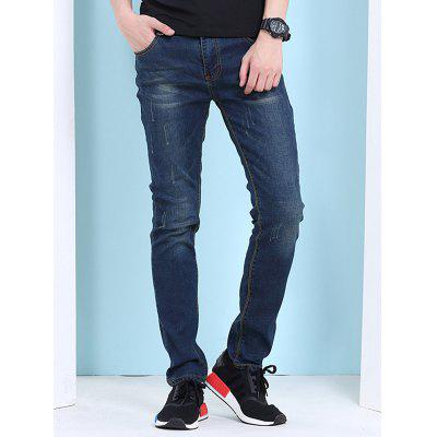 Cat's Whisker Print Zipper Fly Jeans For Men