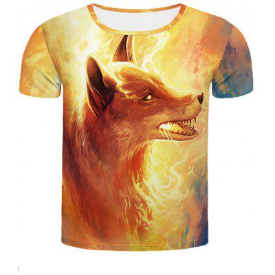 Buy COLORMIX Cool Fire Fox 3D Printed Slimming Round Neck Short Sleeves T-Shirt For Men for $13.45 in GearBest store