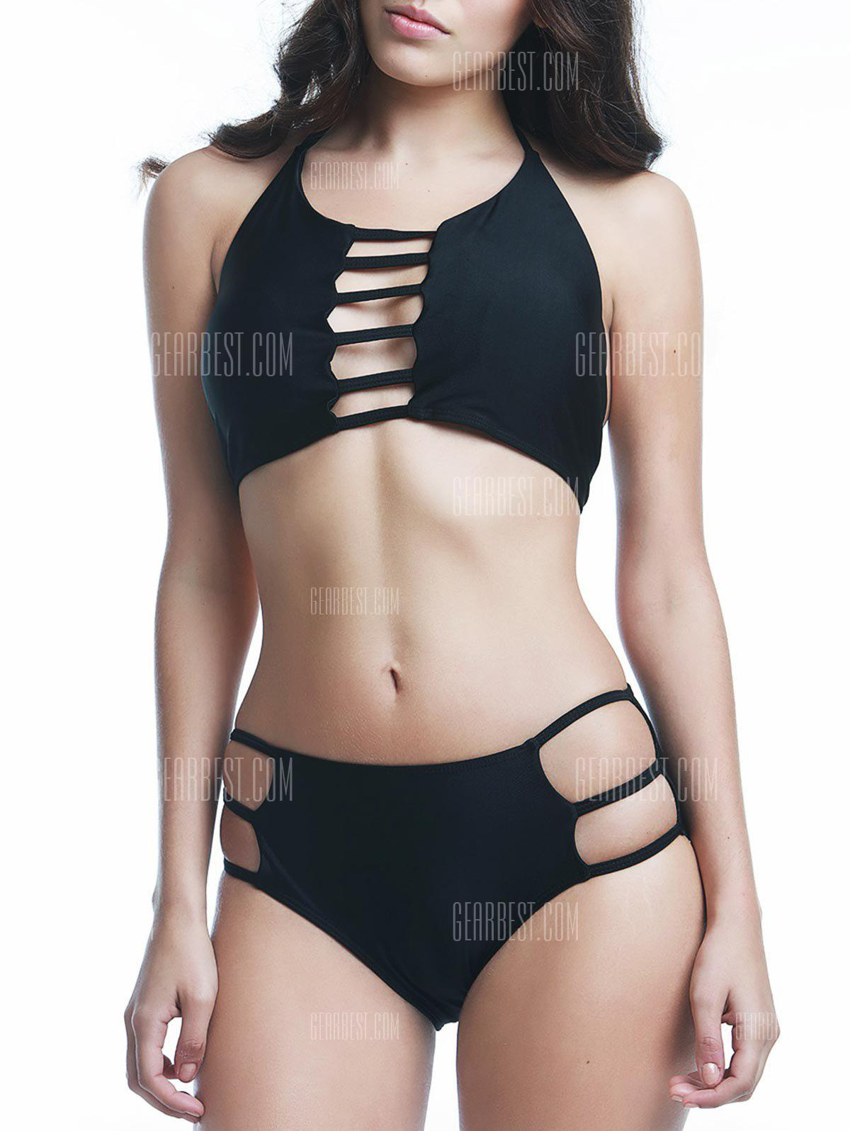 Sexy Halter Solid Color Cut Out Women's Bikini Set