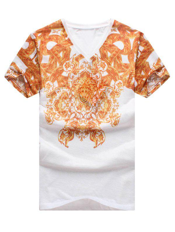 National Style V-Neck Abstract Pattern Slimming Short Sleeves T-Shirt For Men
