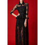 See-Through Lace Maxi Shirt Dress - BLACK