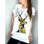 Casual Short Sleeve Round Neck Elk Pattern Women's T-Shirt - WHITE