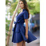 cheap Vintage V-Neck Pure Color Short Sleeve Ball Dress For Women