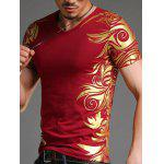Tattoo Red T Shirts Men - WINE RED