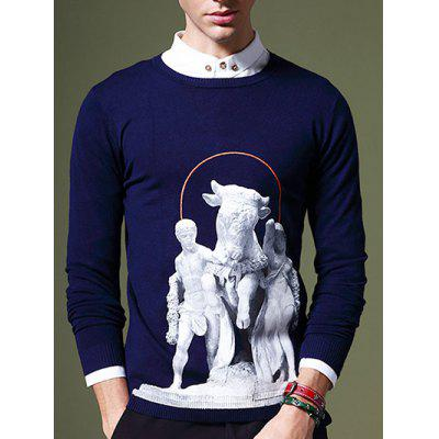Fashion Round Neck 3D Statue Pattern Slimming Long Sleeves Sweater For Men