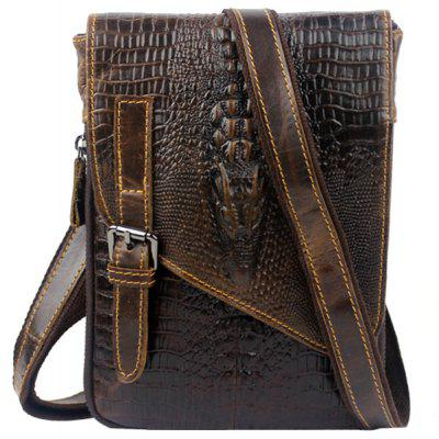 Fashion Crocodile Print and Cover Design Men's Messenger Bag