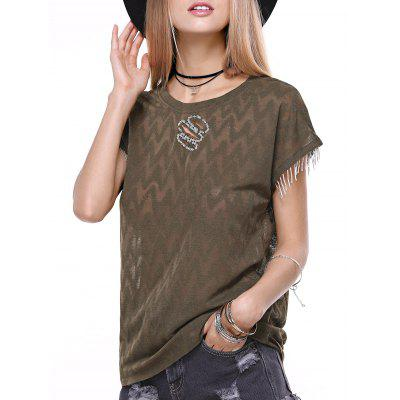 Stylish Short Sleeve Zigzig Rhinestone Embellish Knitwear