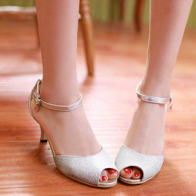 Elegant Kitten Heel and Ankle Strap Design Sandals For Women