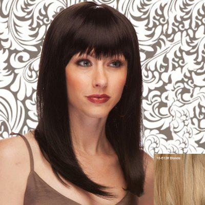 Elegant Long Silky Straight Full Bang Capless Real Human Hair Wig For Women