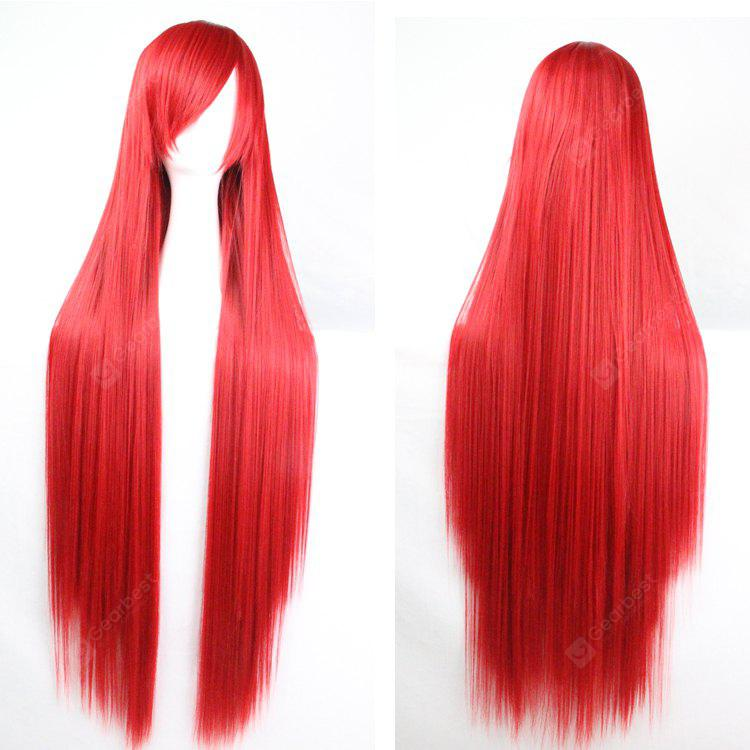 Buy Charming Long Glossy Straight Side Bang Harajuku Anime Synthetic Cosplay Wig RED