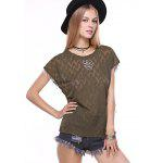 Stylish Short Sleeve Zigzig Rhinestone Embellish Knitwear for sale