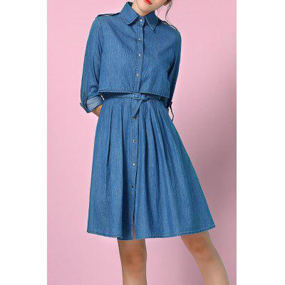 High Waist Denim Shirt Dress