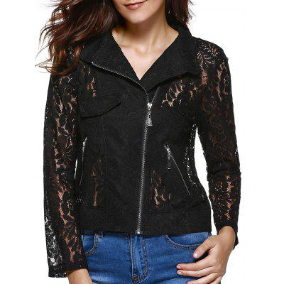 Sweet Long Sleeve Lapel Zipper Fly Lace Jacket