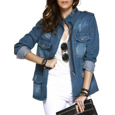 Funnel Collar Pockets Decorated Washing Denim Coat For Women