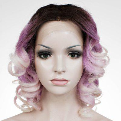 Trendy Women's Medium Wavy Mixed Color Lace Front Synthetic Wig
