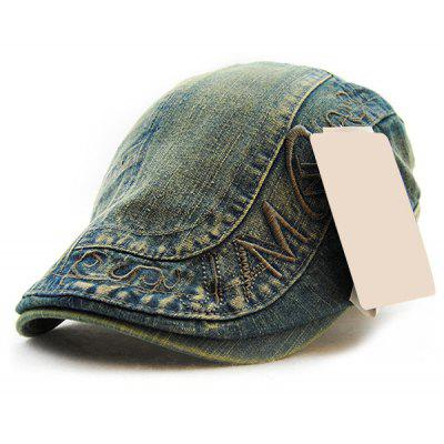 Carta Bordado Do Velho Denim Cabbie Hat For Men