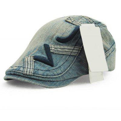 Trendy Letter Shape Embroidery Do Old Denim Fabric Cabbie Hat