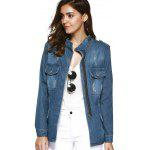 cheap Fashionable Funnel Collar Pockets Decorated Wash Denim Coat For Women